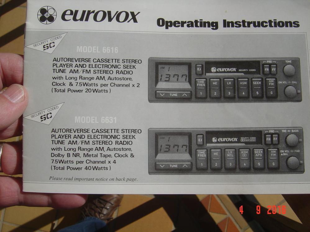 Eurovox Radio Cassette Model 6630 For, Eurovox Wiring Diagram